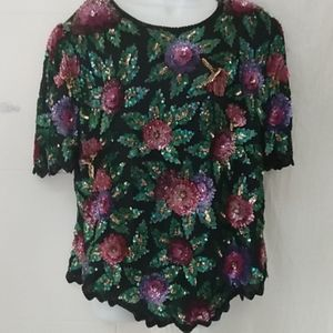 Vintage Laurence Kazar 1X Silk Floral Sequin Top